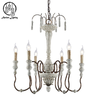Adjustable Chain 6 Light Candle Chandelier White Washed Driftwood Finish Pendant lamp