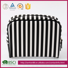 fashion design black white stripe Support Custom colors PU transparent PVC T/C lady's gifts cosmetic bag
