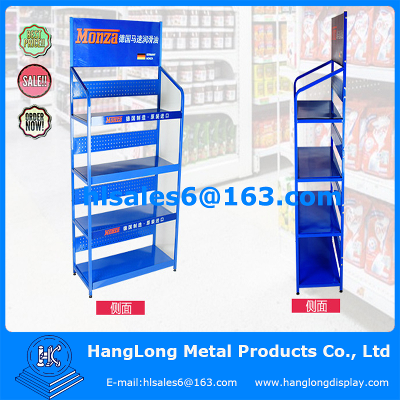 Metal lubricating oil display rack for German market