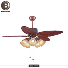 "Faro stylish tropical design ceiling fan vintage popular fan light Cuba brown 122 cm / 48"" with pull cord"