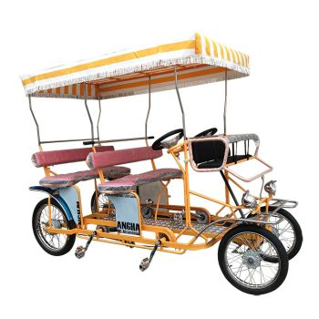 Factory Price Sightseeing Rental 4 Person Surrey Bike, Fun Pedal Family Beach Surrey Bike