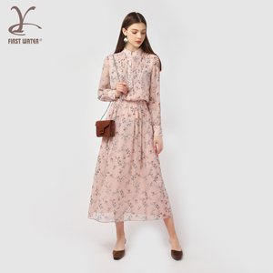 High quality women casual pink printing long sleeves lady dress