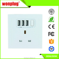 UK usb electric wall outlet switch socket with three usb port