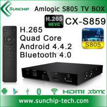 CX-S859 Amlogic S805 Quad core android 4.4.2 tv box support bluetooth 4.0, XBMC, 1G+8G, Hotspot H.265 Amlogic TV box