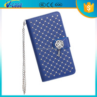 Diamond decorative pouch leather wallet phone case with chain for nokia lumia 630