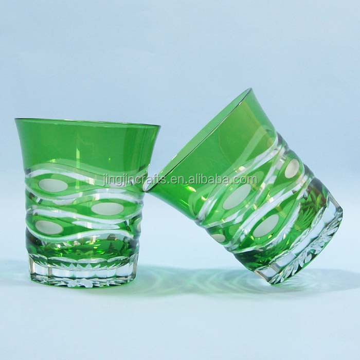 green ,purple fashionable hand cutting 8 oz whisky drinking glass