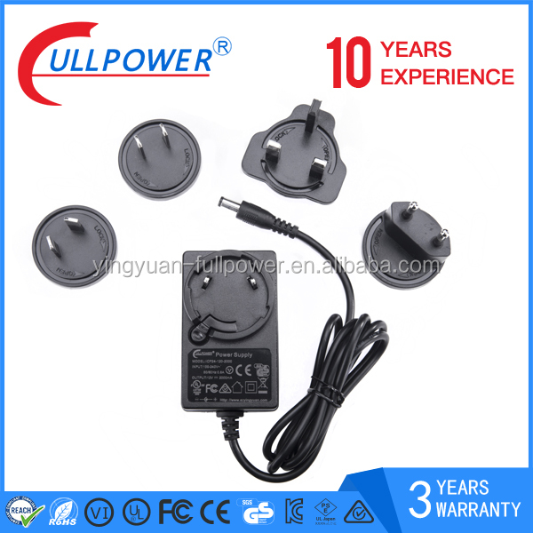 efficiency VI 24V1A interchangeable power adapter for cctv camera