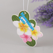 high quality full color printing hanging car paper air freshener with long lasting good smell in customized flower shape