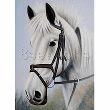 Diamond Painting Rhinestone White Horse Pattern Cotton Embroidery DIY Kit