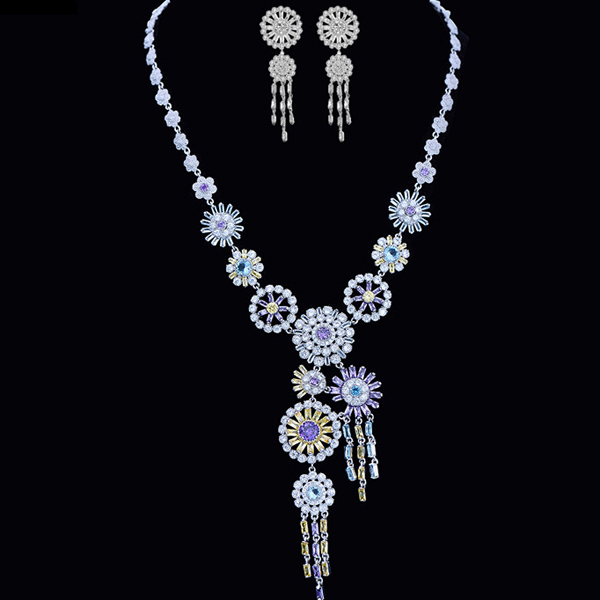 luxury wear wedding bridal s925 sterling silver daisy zirconia jewelry set