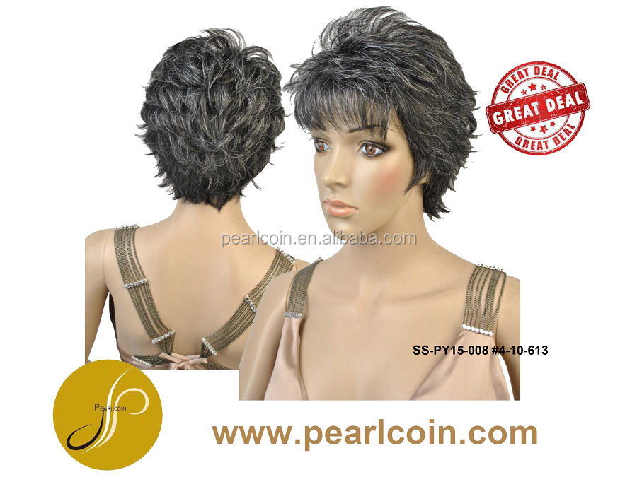 Grey Hair Two Toned HairStyle High Temperature Fiber Wigs