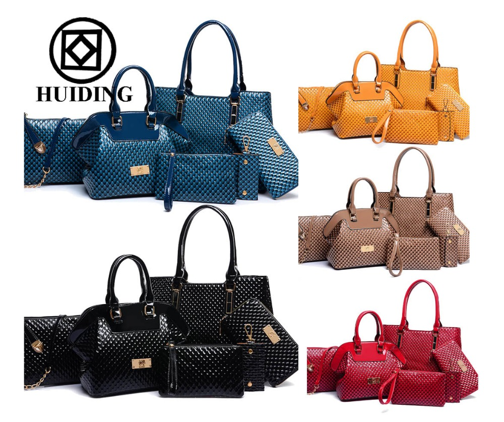 2017 new products 6pcs in 1 set PU leather handbag bag in bag for women tote bag china wholesale online shopping