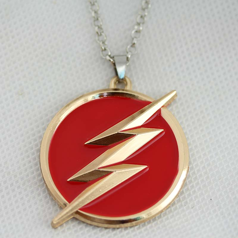 new dc comics the flash logo gold necklace