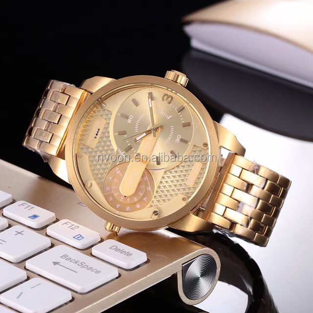 OEM custom 30 atm water resistant luxury watch with 18K gold  plated stainless metal men watch