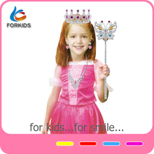 HOT SELLING FANCY GIRL'S PRINCESS DRESS WITH PLASTIC ACCESSORIES,PRINCESS COSTUME TOY SET