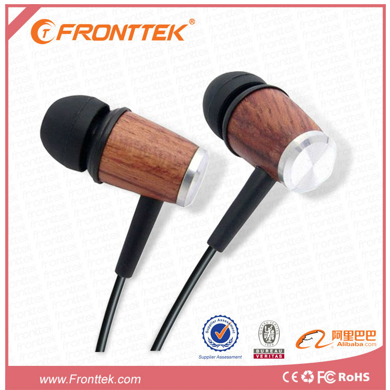 2014 Natural Wood Headphones with mic and stereo ,noise cancelling in wholesale