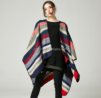 New Arrival 2017 Women's Ponchos Two Sides Wear Plaid Shawl Scarf