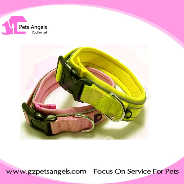 2016 Best Selling custom comfortable Reflective nylon foam padded dog collar wholesale
