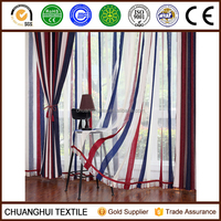 Mediterranean Style chenille striped sheer curtain fabric