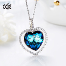 Crystals from Swarovski Jewelry 925 Sterling Silver Heart Pendant Necklace