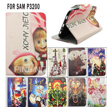 cartoon printing wallet flip case for samsung galaxy tab 3 p3200 p3210 t210 7.0