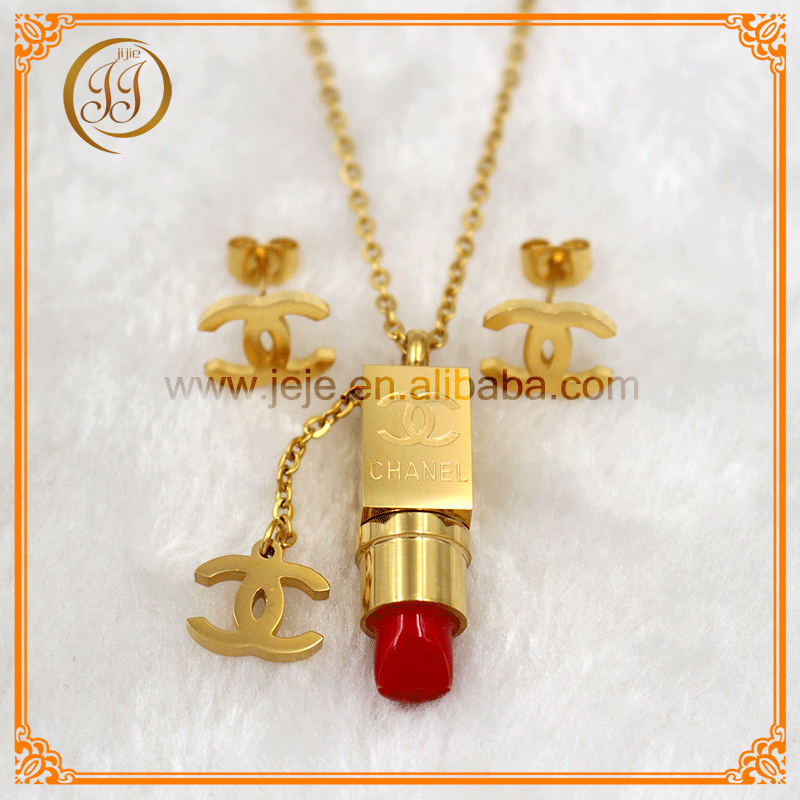 Unique Fashion Lipstick Shaped Gold Plated Necklace Earring Set Of Jewellery