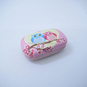 Cute love birds contact Lens Case black velvet inside with mirror