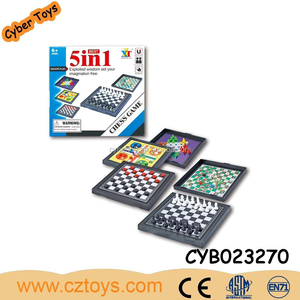 5 in 1 Kids intelligent toys chess board, Funny plastic giant chess set
