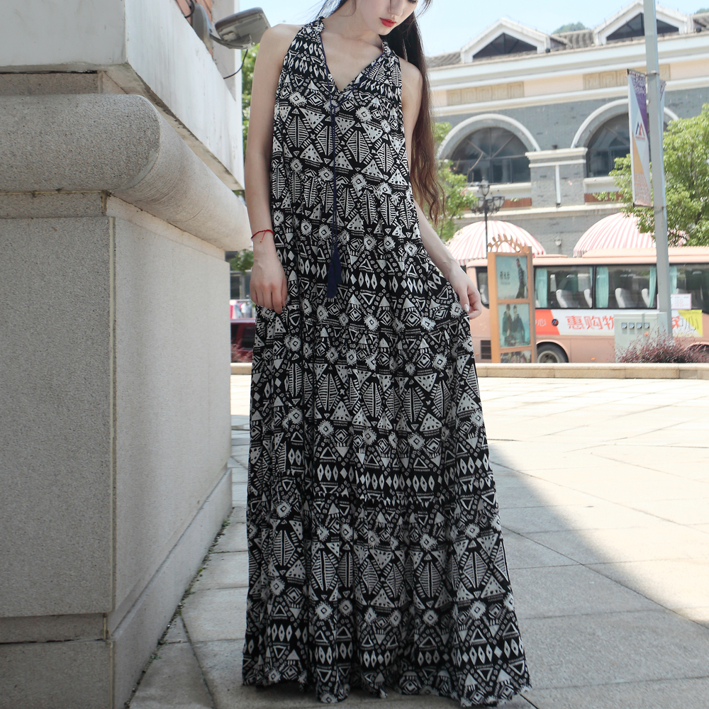 halter sexy sweeping floor length summer dress