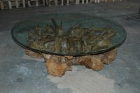 Rustic Wooden Root Coffee Table W/ Glass Top