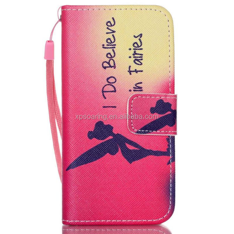 Wallet Flip leather case pouch bag with tpu cover for iPhone 5C, butterfly leather case for iPhone 5C