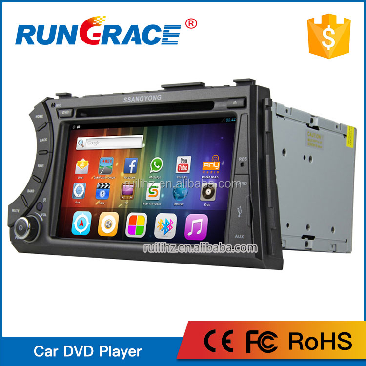 Rungrace 2din car radio gps dvd bluetooth steering wheel For Ssangyong Kyron