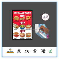 Aluminum frame advertising display for restaurant wall menu board, menu board KFC, magnetic acrylic menu light box