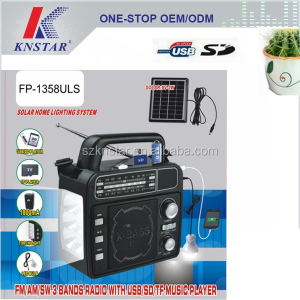 Portable solar AM/FM/SW 3 band radio with torch light