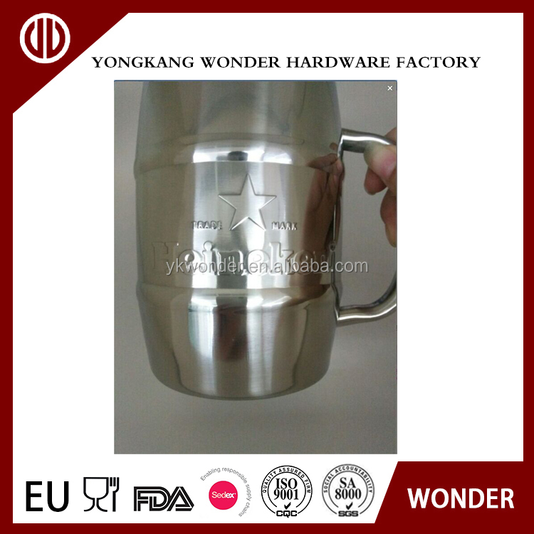 500ml stainless steel creative custom embossed logo beer mug