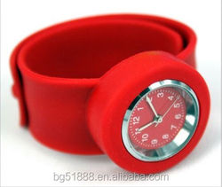 Silicone Slap Strap Wrist Watch With Silicone Watchstrap, Silicone Bracelet Watch