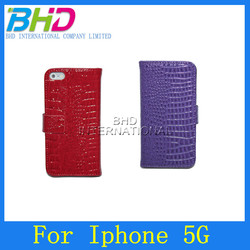 Luxury leather belt clip flip wallet case for iphone 5