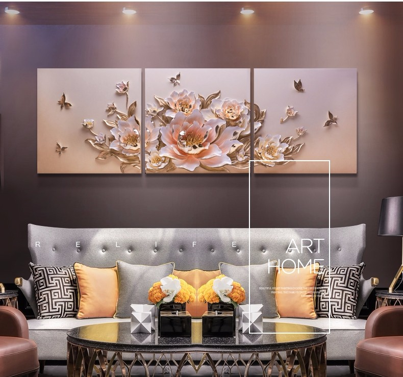 100% Handmade Handpainted flower abstract and decorative oil painting textured for Home Decoration