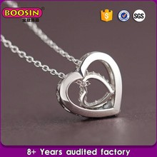 Double heart pendant silver jewelry fashion silver plated necklace for women