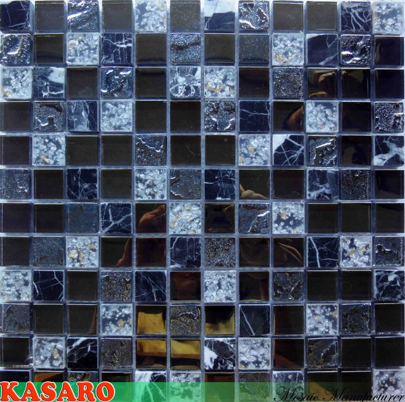Mixed Color Glass Mix Stone Mosaic, Glass Stone Resin Mixed Mosaic (KSL135151)