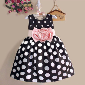 Hao Baby,2019 New Children Dress European and American Girls Polka Dot Dress Children and Flower sundress children skirt.