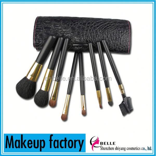 Best brush manufacturer supply!8pcs black color goat hair professional makeup brush set
