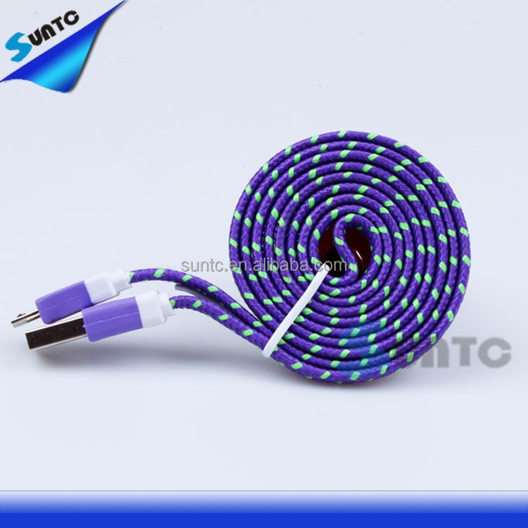 nylon braided flat micro USB cable cord