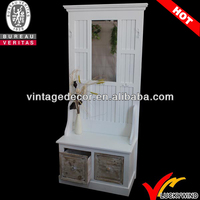 Home Style White Hall Trees With Storage Bench