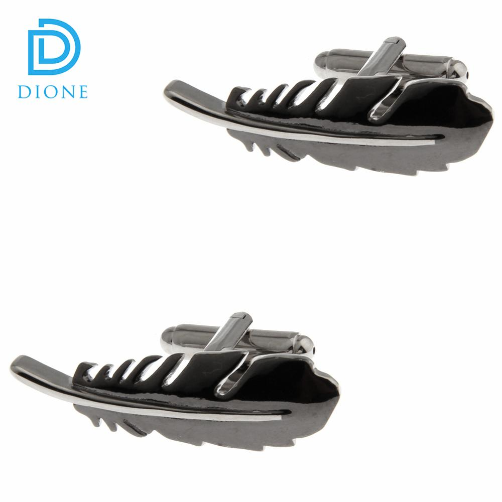High Quality Black Color Bird Feathers Cufflinks Jewelry for Men Shirt