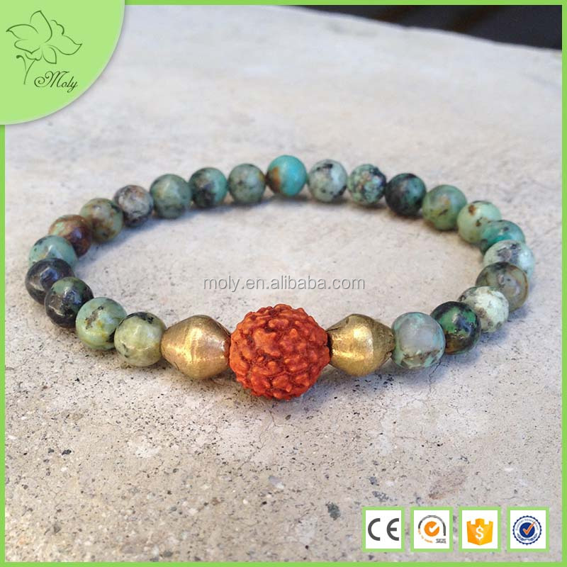 Yiwu Jewelry Factory Fancy Jasper Stretch Bracelet 10mm Round Natural Gemstone Beads Green Teal Rust Stone Bracelet