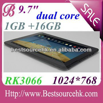 Unbelieveable price! dual camera build-in 2g/3g phone call 9.7 inch android tablet with cortex A9 rk3066