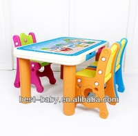 Orange legs rectangle kid's plastic table and chair set