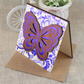 Unique 2016 Butterfly Shape Wooden Wedding Invitation Card with Hot Foil Words
