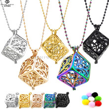 Hot flower square shaped cage pendant aromatherapy diffuser jewelry for essential oils